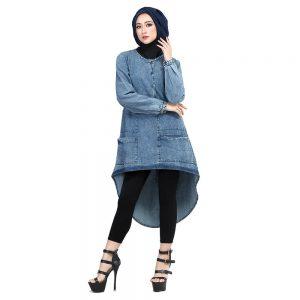 Inficlo Gamis Muslimah Kasual Wanita Biru Jeans SHJ 956