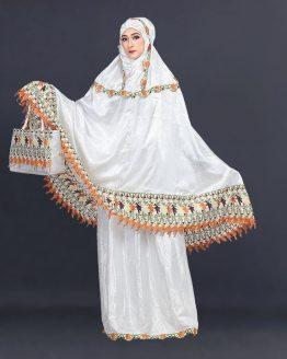 Inficlo Mukena Shalat Muslimah Wanita Putih Semi Sutra SLS 173