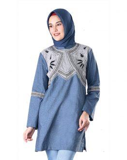 Inficlo Atasan Muslimah Sarimbit Couple Wanita Biru Cotton SGB 316